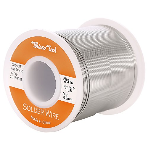 (Whizzotech Solder Wire 60/40 Tin/Lead Sn60Pb40 with Flux Rosin Core for Electrical Soldering Diameter 0.032 Inch Weight 1LB)