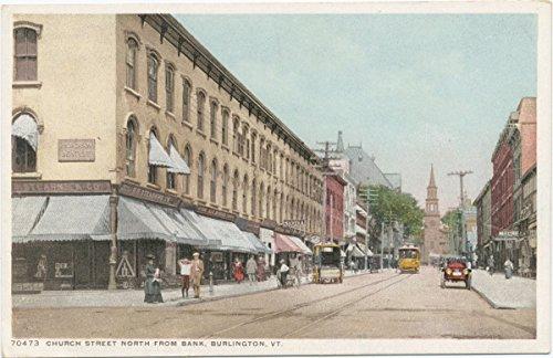 Vintage Postcard Print   Church Street north from Bank, Burlington, Vt., 1898   Historical Antique Fine Art - Church Street Burlington