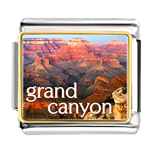 GiftJewelryShop Gold Plated Travel Grand Canyon Bracelet Link Photo Italian (Travel Photo Charm)