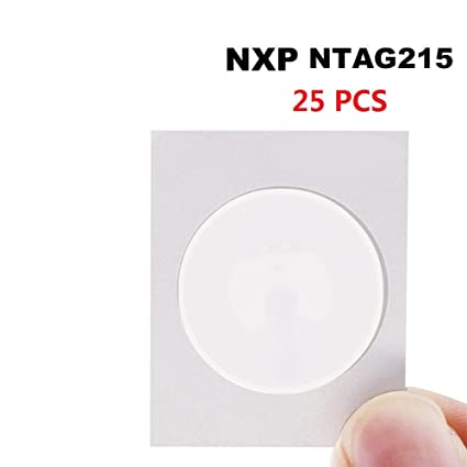 Timeskey NFC NTAG215 NFC Stickers NFC Tags 25mm White Blank NFC Circular  Sticker ( Writable and Programmable ) - Compatible with TagMo Amiibo and  All
