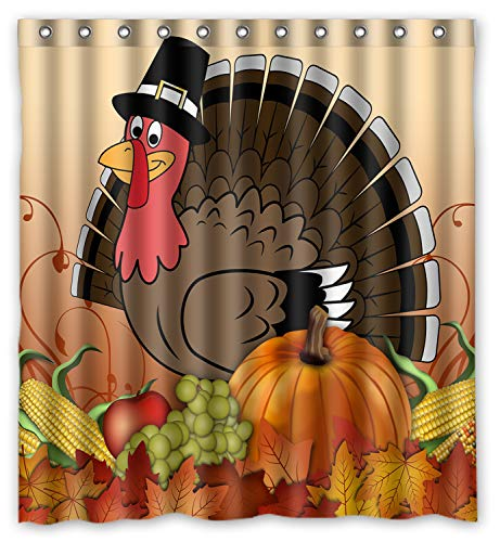 thanksgiving turkey with pumpkin Waterproof Bathroom Fabric Shower Curtain,Bathroom decor 66 x 72