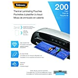 Fellowes Thermal Laminating Pouches, 3 mil, 200 Pack