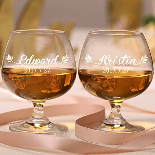 AW BRIDAL Personalized Crystal Brandy Snifters Whiskey Cocktail Glasses Set of 2, 14 OZ - Customed Gifts for Wedding, Engagement, Newlyweds, Loving Couple //P05//