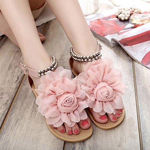 FEITONG Mujer Bohemia Rebordeado Verano Flor Plano Dar la vuelta Flops Zapatos de mujer Sandalias Rosa