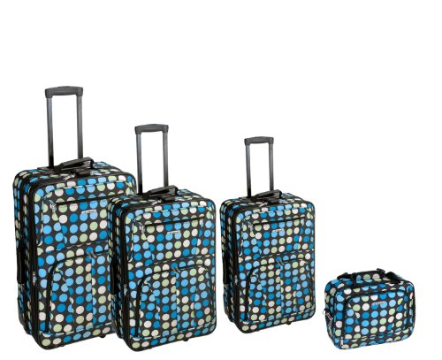 Pocket Fully Lined Two Tote (Rockland Luggage Dots 4 Piece Luggage Set, Multiple Blue Dots, One Size)