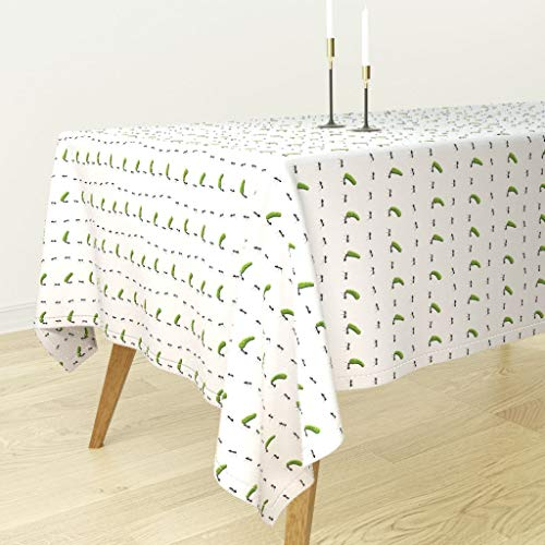 Roostery Tablecloth - Ant Ants Pickles Pickled Cucumbers Jars Picnic by Analinea - Cotton Sateen Tablecloth 70 x 120
