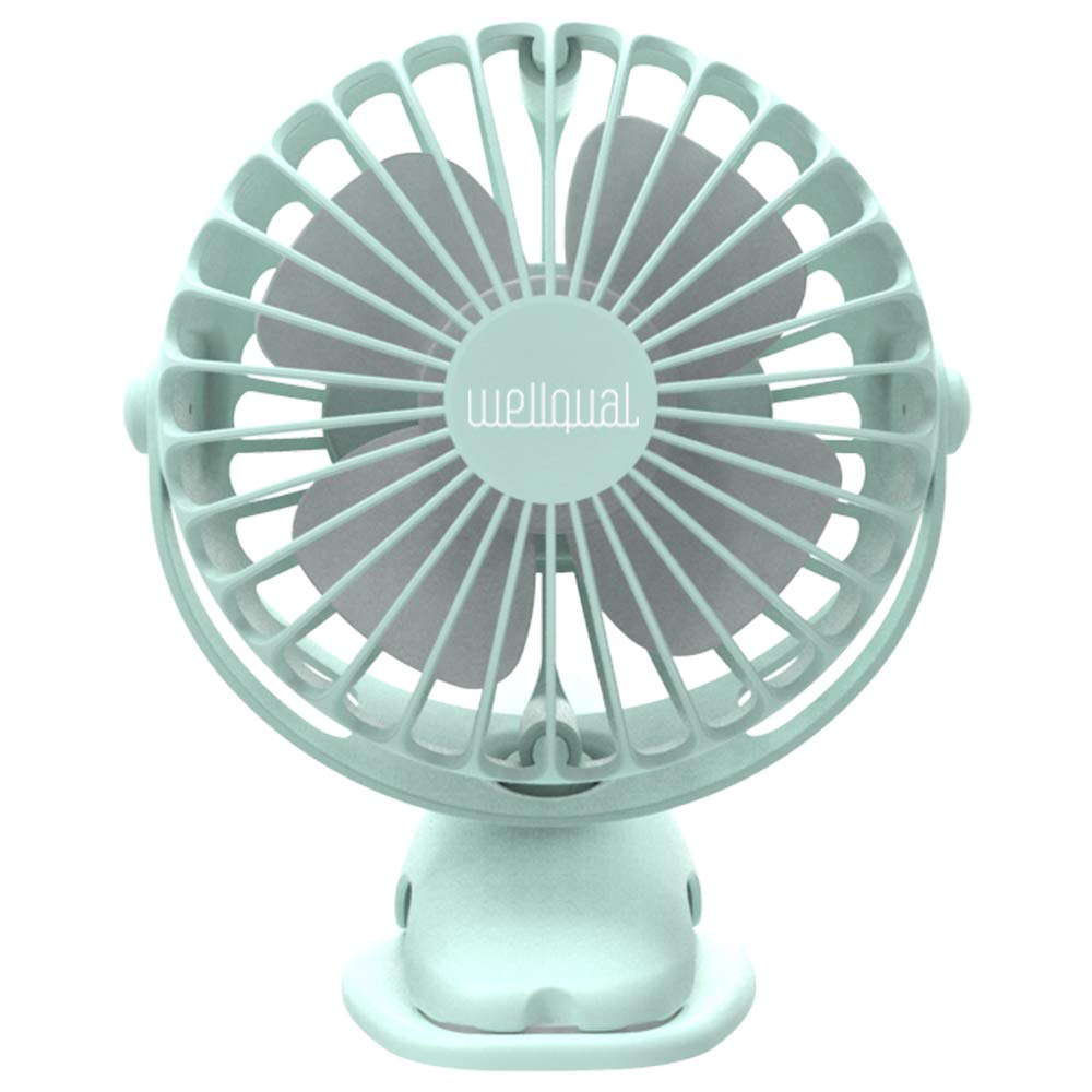 Clip On Mini Desk USB Fan with Rechargeable 4000mAh Battery& USB Cable. 360°Rotation, Adjustable Speed. Cooling Portable Small Stroller Fan for Baby, Car Seat, Gym, Travel, Treadmill (Green)