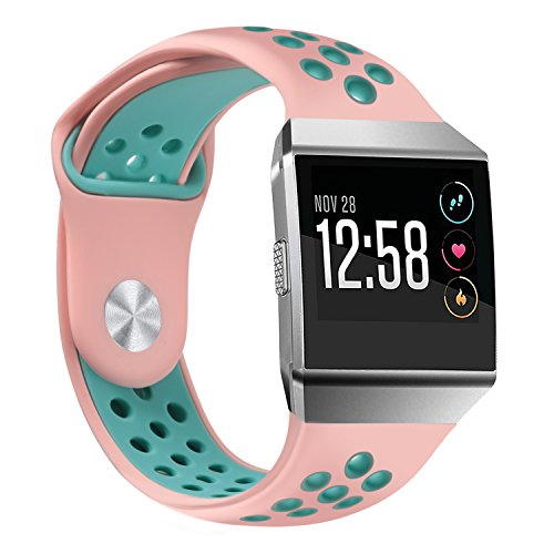 bayite Soft Silicone Sport Bands Compatible Fitbit Ionic Replacement Band Perforated Breathable Accessories Wristband Women Men Pink/Teal