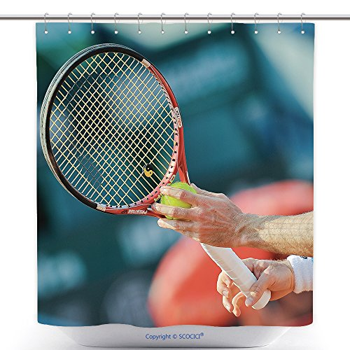 Unique Shower Curtains Bucharest Romania September Unidentified Tennis Player In Action During Brd Nastase Tiriac 194292191 Polyester Bathroom Shower Curtain Set With (Brd Set)