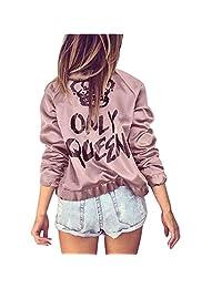 Womens Jackets, KIKOY Only Queen Print Satin Bomber Zipper Jacket Coat