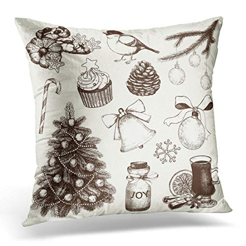 Emvency Throw Pillow Covers Case Orange Jar Collection of Ink Christmas and New Year's and Illustrations for Holiday Design Tree Ball Decorative Pillowcase Cushion Cover 16 x 16 Inches