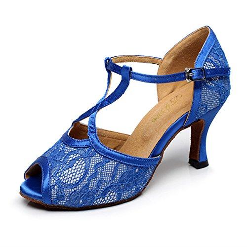 BYLE Sandalias de Cuero Tobillo Modern Jazz Samba Zapatos de Baile Zapatos de Baile Latino Azul de Fondo Blando Onecolor
