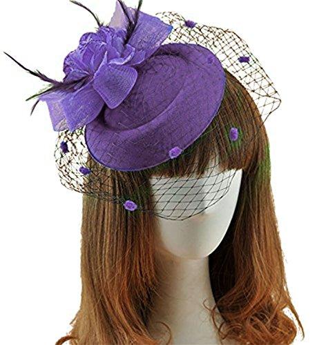 Fascinator Hats Pillbox Hat British Bowler Hat Feather Flower Veil Wedding Hat (Purple )