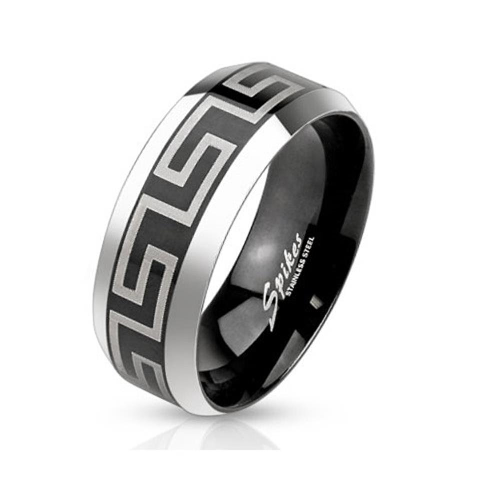 Paula & Fritz Stainless Steel Ring Surgical Steel 316L 6 or 8mm Wide Black Laser Engraved Labyrinth Band R-M3651