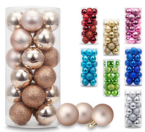 AMS Christmas Ball Mini Ornaments Party Decoration Shatterproof Festival Widgets Pendant Hanging Pack of 24ct (40mm,Champagne) for $<!--$7.99-->
