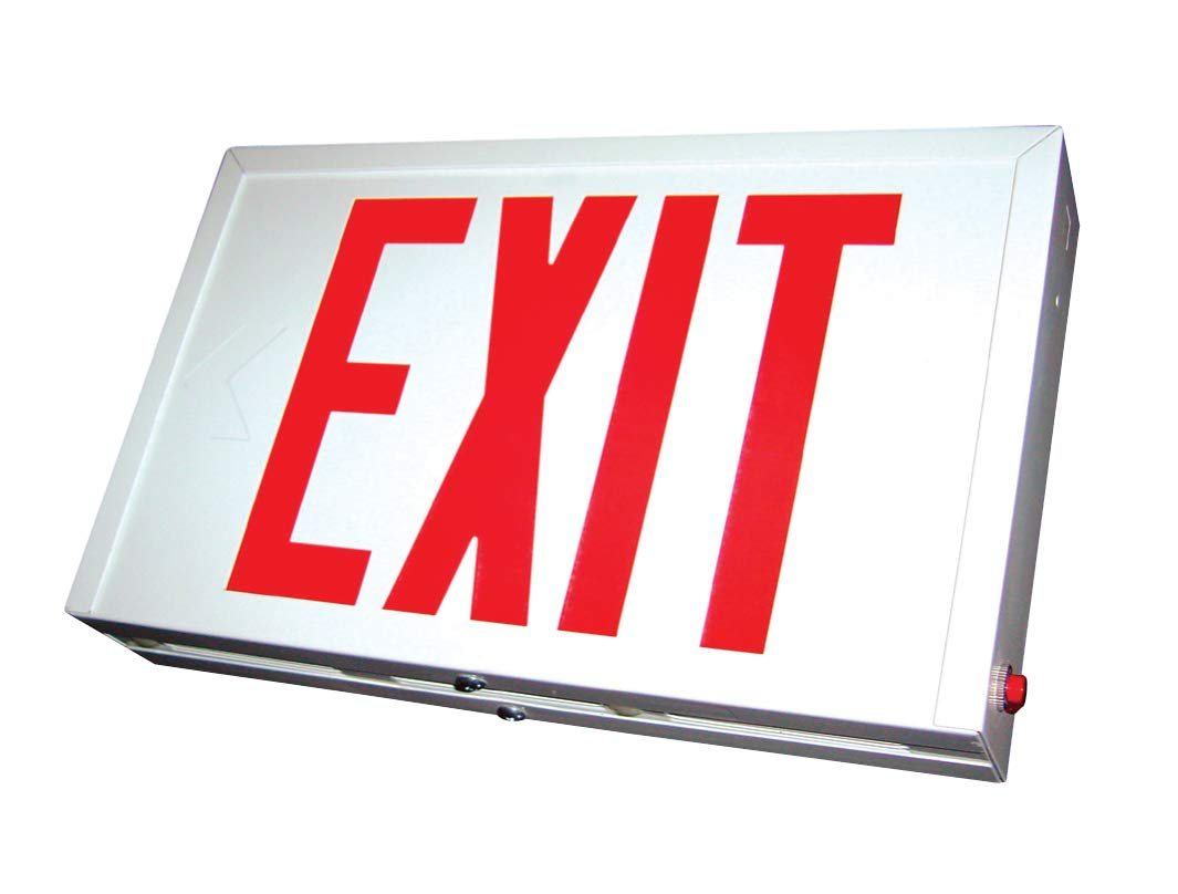 Exit Sign with Durable Steel Housing & Long Life LED, Red Letters, White Housing, AC Only, Dual 120/277 V
