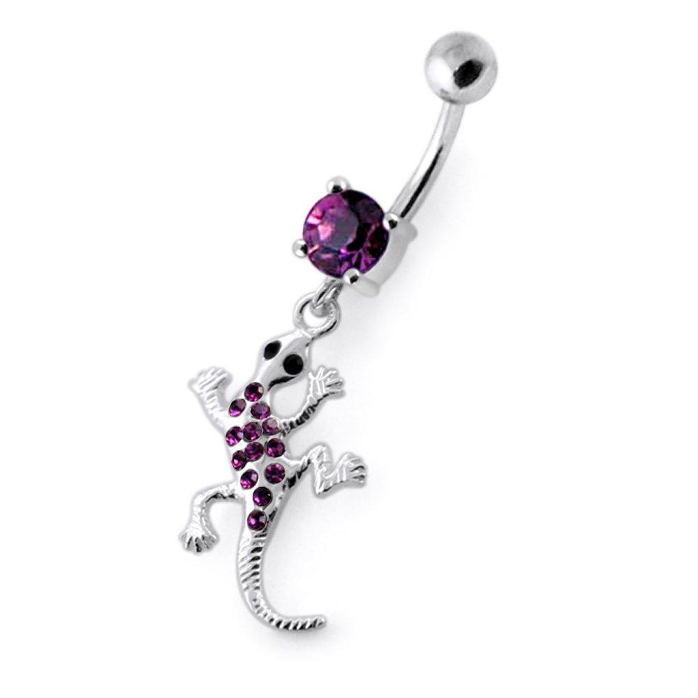 Multi Crystal Gemstone Stylish Lizard Dangling 925 Sterling Silver Belly Ring Body Jewelry