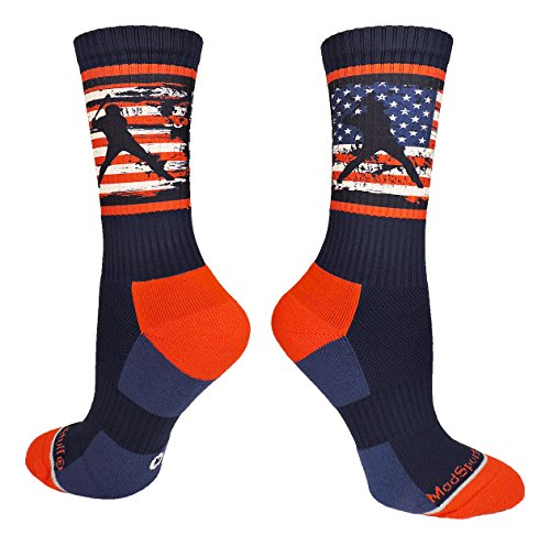 - MadSportsStuff USA Flag Baseball Player Crew Socks (Navy/Red/White, Large)