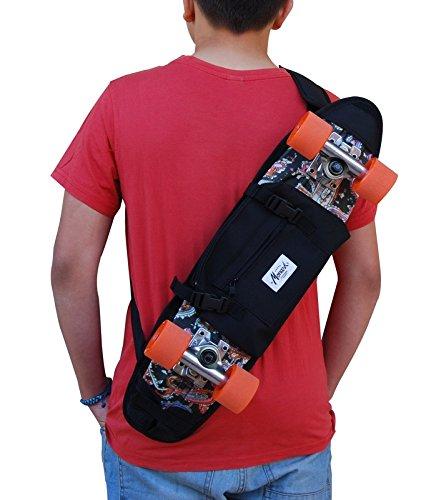 SKATE HOME Backpack, shoulder bag for 22 and 23 inches cruiser skateboard. Black by SKATE HOME