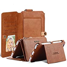 iPhone 6 Plus/6S Plus Case, FLOVEME 2-in-1 Zipper Magnetic Leather Wallet Case with 18 Card Slots, Cash Compartment and Wrist Strap Cover for 5.5 inch iPhone 6S Plus, 6 Plus (Brown)