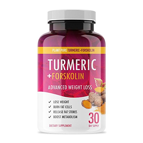 Turmeric + Forskolin - Plant Pure - Powerful Weight Loss Supplement to Burn Fat and Boost Metabolism - Powerful Anti-Oxidant and Anti-Inflammatory to Support Weight Loss, Joints, Brain - 30 Capsules