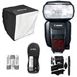 Canon 600EX-RT Speedlite Flash + Polaroid Mini Universal Studio Soft Box Flash Diffuser + Jumbl NiMH Ultra Power Battery Charger with Batteries + Ritz Gear Premium Cleaning Kit