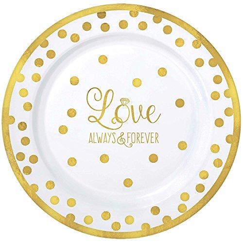 Sparkling Gold Wedding Premium Plastic Lunch Plates 20ct