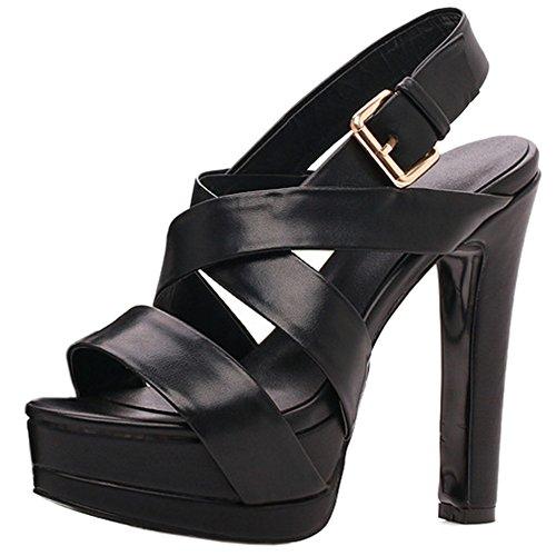 TAOFFEN Mujer Elegante Punta Abierta Sandalias Tacon Ancho Tacon Alto Plataforma Strappy Zapatos Negro