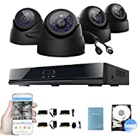 TECBOX 8CH Surveillance Camera System 960H H.264 Dvr Recorder 4 700+TVL Weatherproof Cameras Home Security System Remote Viewing iOS Android Devices No Hard Drive