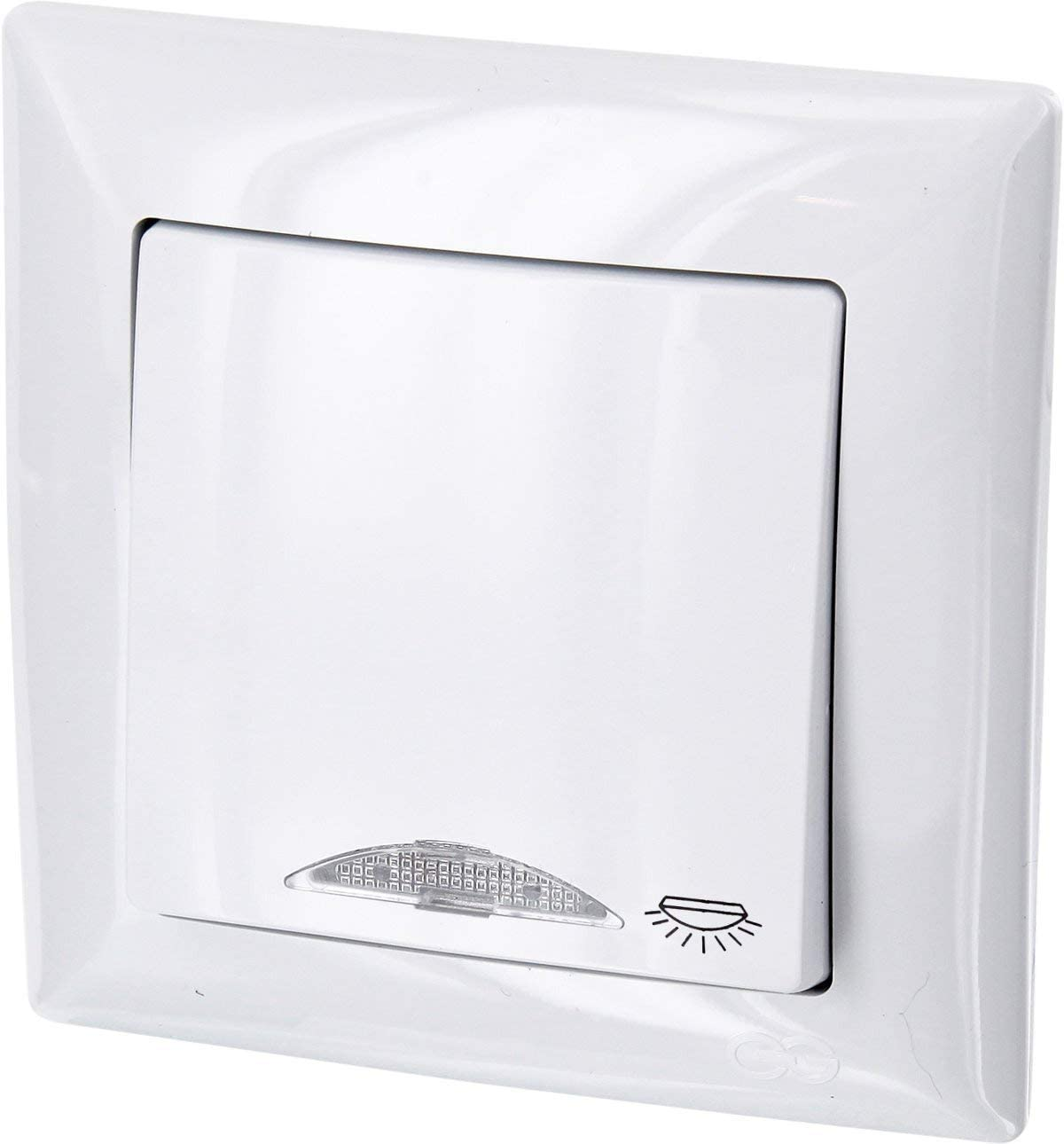 Up pulsador con luz de símbolo + LED de iluminación – All-in-One – Marco + rasante de uso + Protectora (Serie G1 Color Blanco): Amazon.es: Iluminación