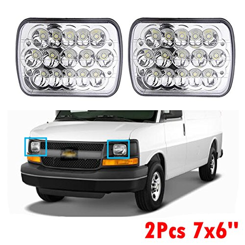 "7X6"" 5X7"" LED Headlight Hi/Lo Sealed Beam Replacement for Chevrolet Express 3500 Cargo Van 2012-2016 - US Stock (Set of 2)"