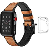 Trcode for iWatch 42mm Band for Men,Genuine Leather Soft Silicone Strap Replacement for iPhone with Black Stainless Steel Clasp, Sport Watch 42mm Band for iwatch Apple Series 1 2 3(Brown)