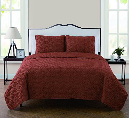 VCNY Home Kaleidoscope Embossed Polyester 3 Piece Quilt Set, SUPER SOFT Quilt Set, Wrinkle Resistant, Hypoallergenic Bed Set, King, Burnt Orange.