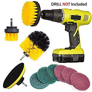 QUIENKITCH 10 Piece Drill Brush Attachments Set, Power Drill Scrubber Brush Attachments, Drill Scrub Pads For Grout, Tiles, Sinks, Bathtub, Bathroom, Shower & Kitchen Surface