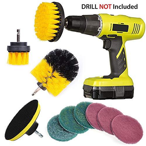 QUIENKITCH 10 Piece Drill Brush Attachments Set, Power Drill Scrub Brush Attachments, Drill Scrub Pads For Grout, Tiles, Sinks, Bathtub, Bathroom, Shower & Kitchen Surface