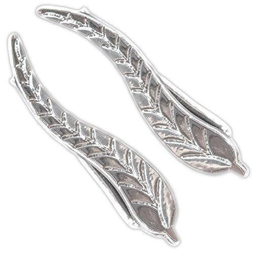 Climber Earrings Leaf Crawler Earrings: Silver Wrap Cuff Earrings for Women - Gift Ready in Black Velvet Pouch