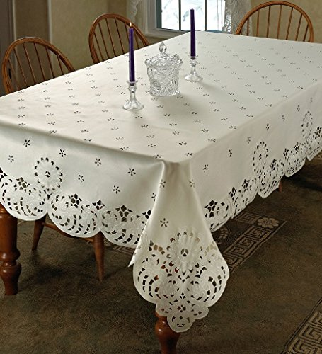 Violet Linen Daisy Design with Cutwork Tablecloth, 70