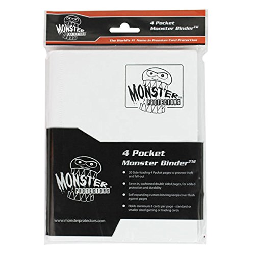 Monster Binder - 4 Pocket Trading Card Album - Matte White (Anti-theft Pockets Hold 160+ Yugioh, Pokemon, Magic the Gathering Cards) by Monster Protectors