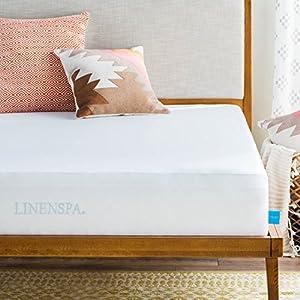 Linenspa Premium Smooth Fabric Mattress Protector-100% Waterproof-Hypoallergenic-Vinyl Free Protector, Twin, White
