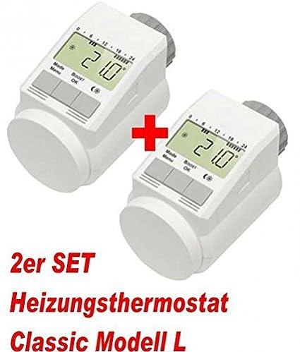 """Juego de 2 – Termostato para radiador clásico """"L con función Boost + +"""
