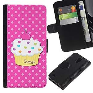 Billetera de Cuero Caso del tirón Titular de la tarjeta Carcasa Funda del zurriago para Samsung Galaxy S4 IV I9500 / Business Style Sweet Pastry Polka Dot Pink