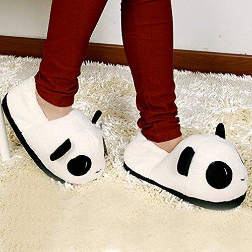 Anti RENZE CharmantChaud Femmes Blanc dessinée Bande Peluche Hommes Intérieur en Chaussures Panda dérapant Doux Pantoufles qACHqRgw