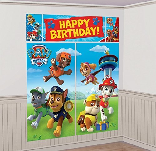 Paw Patrol Scene Setter Wall Decorations Kit - Kids Birthday and Party Supplies Decoration (Paw Patrol Birthday Party Theme)