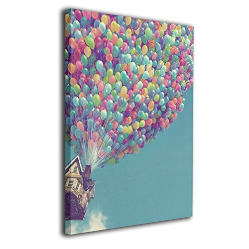 TRdY Page Hot Air Balloons Painted Canvas Inner Framed Wall Decor Modern Artwork for Office Home Decor Pictures Ready to Hang for Living Room Bathroom