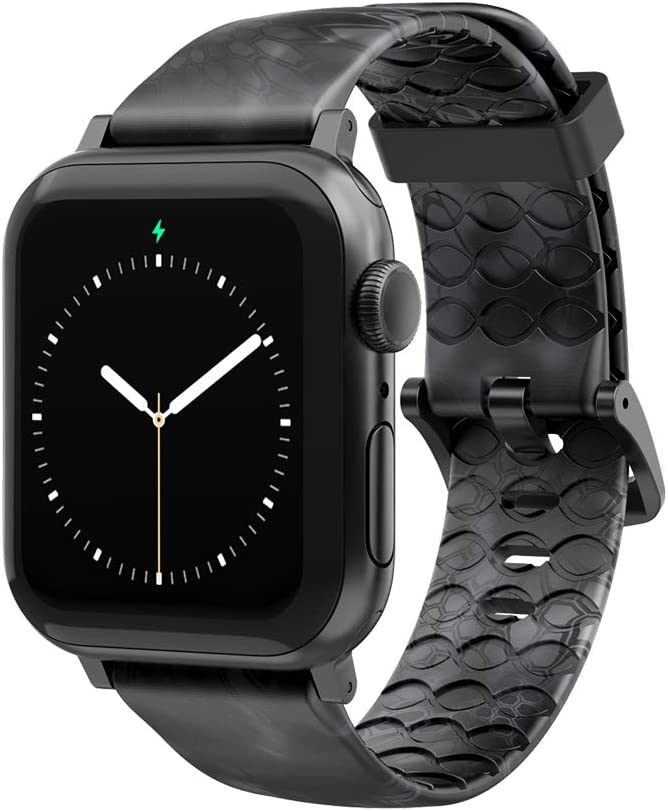 Kryptek Typhon Camo Watch Band by Groove Life - Compatible with Apple Watch 38mm 40mm 42mm 44mm, Breathable Silicone Bands for Men Series 5 4 3 2 1 - Wide Long Space Grey