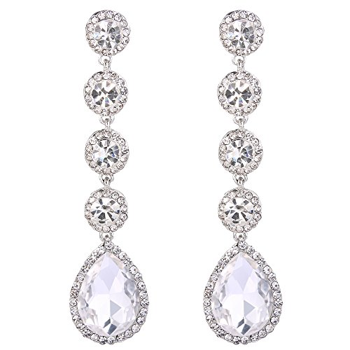 BriLove Women's Elegant Wedding Bridal Crystal Beaded Teardrop Chandelier Dangle Earrings Clear Silver-Tone Dangle Chandelier Earrings