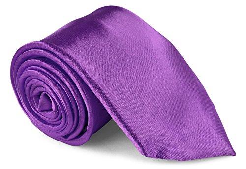 Moda Di Raza Men's Necktie 3 inch Satin Silk Finish (Violet Solid Tie)