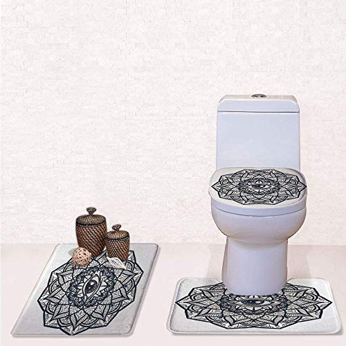 Comfort Flannel 3 Pcs Bath Rug Set,Contour Mat Toilet Seat Cover,Abstract Ornamental Eye with Ethnic Mandala Form Providence Energy in Action Design Decorative with Black White,Decorate Bathroom,entr