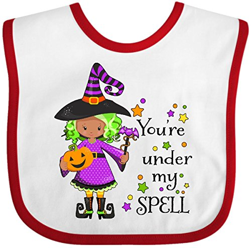 Inktastic You're Under My Spell- Cute Halloween Witch Baby Bib White/Red -
