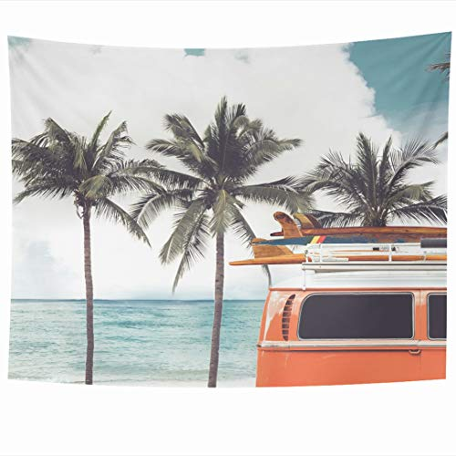 Ahawoso Tapestry 90 x 60 Inches Parked Blue Surfboard Vintage Car On Tropical Beach Ocean Holidays Surf Summer Van Board Retro Camper Wall Hanging Home Decor Tapestries for Living Room Bedroom Dorm